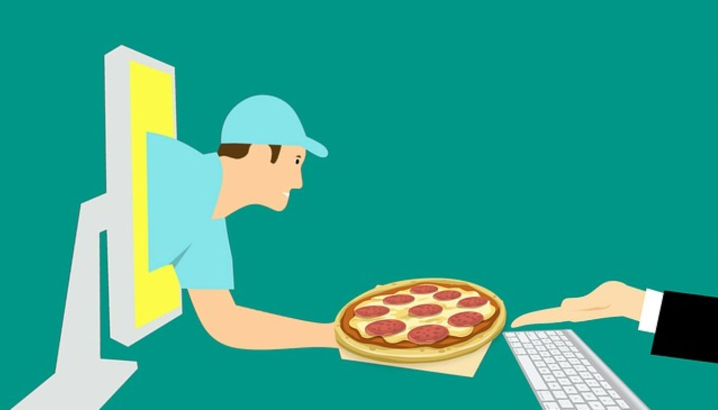 Illustration of delivery man emerging from computer offering pizza to customer who has abandoned order before checkout.