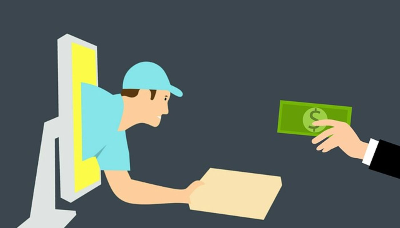 Illustration of delivery man emerging from computer with food package offering online specials to restaurant customer.