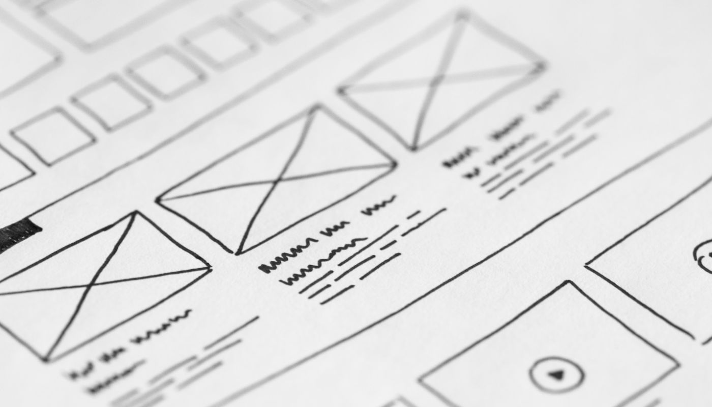Wireframe of benefits of bringing UX into customer service, with image and video elements on digital website landing page.
