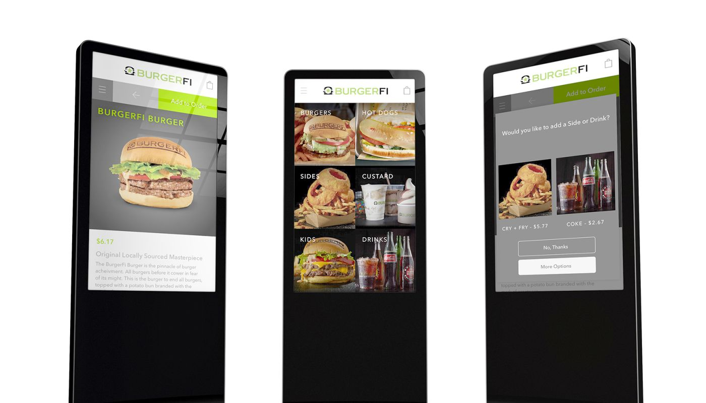 Three black standing kiosks featuring gourmet hamburgers, fries, onion rings, custard and soft drinks on white background.