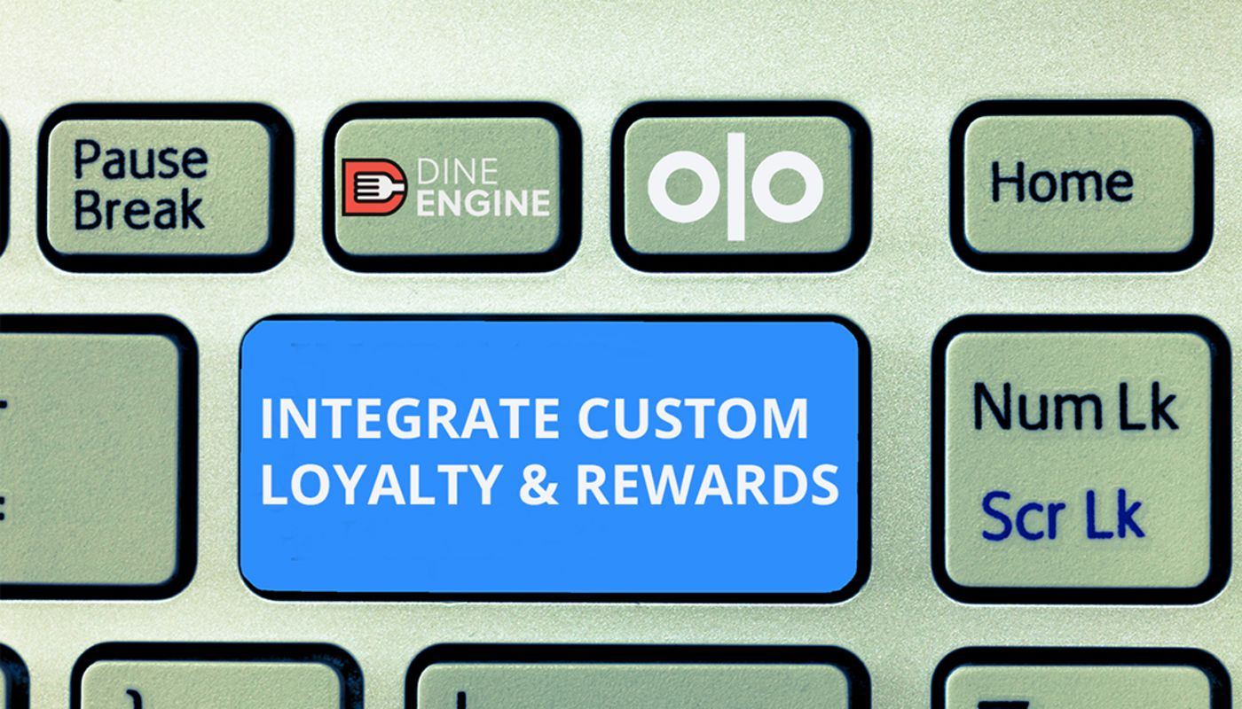 Close up of lime-green keyboard with DineEngine® and Olo logos and blue button labeled Integrate Custom Loyalty & Rewards.