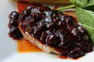 Pork Chops with Blueberry Bourbon BBQ Sauce