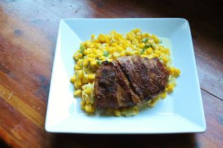 Bacon Wrapped Pork Chops with Jalapeno Creamed Corn