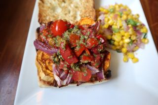 Sweet Potato Sandwiches with Tomato and Pepper Salsa