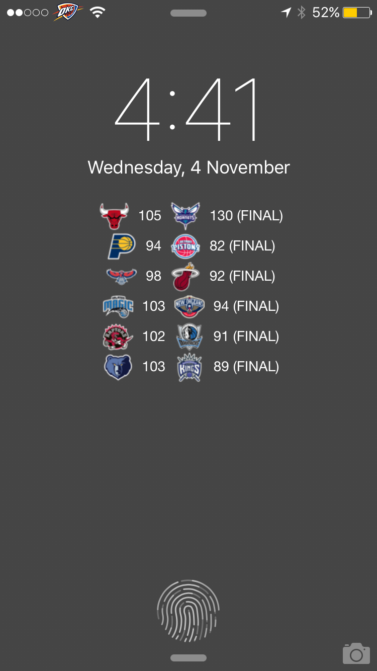 NBA Lockscreen scores