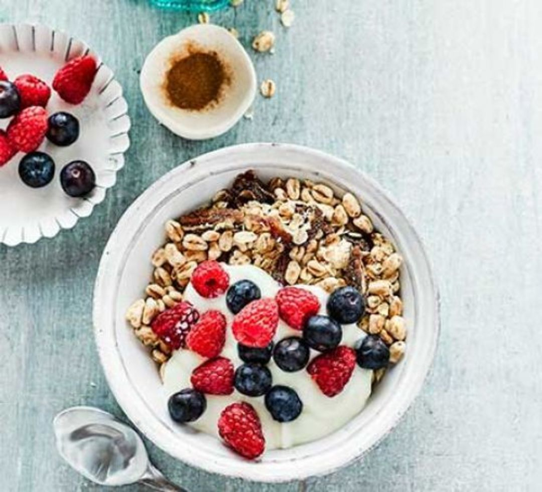 Homemade muesli with dates and berries