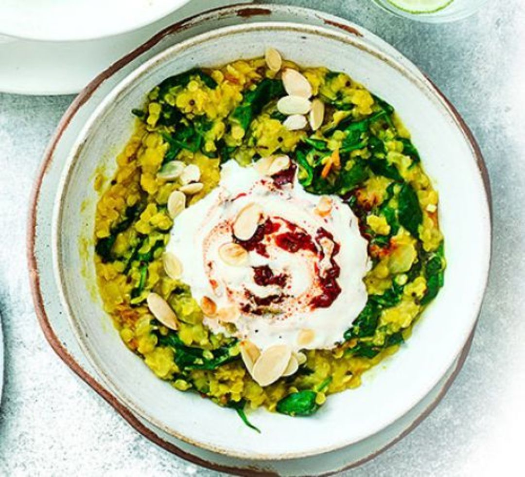 Spinach dhal with harissa