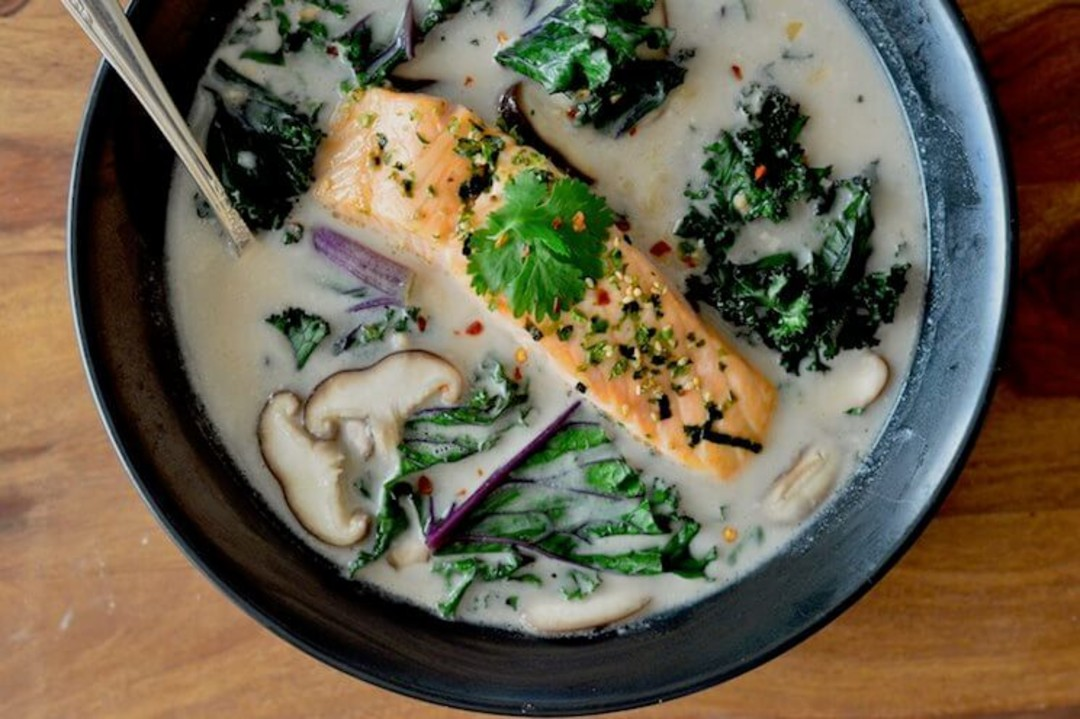 Thai Coconut Soup With Salmon and Kale