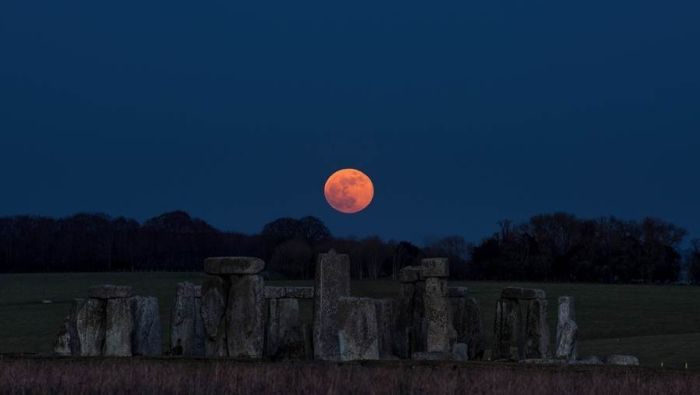 Super Blue Blood Moon Over Stonehenge