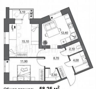 2-к. квартира, 58,3м², 2/5эт.