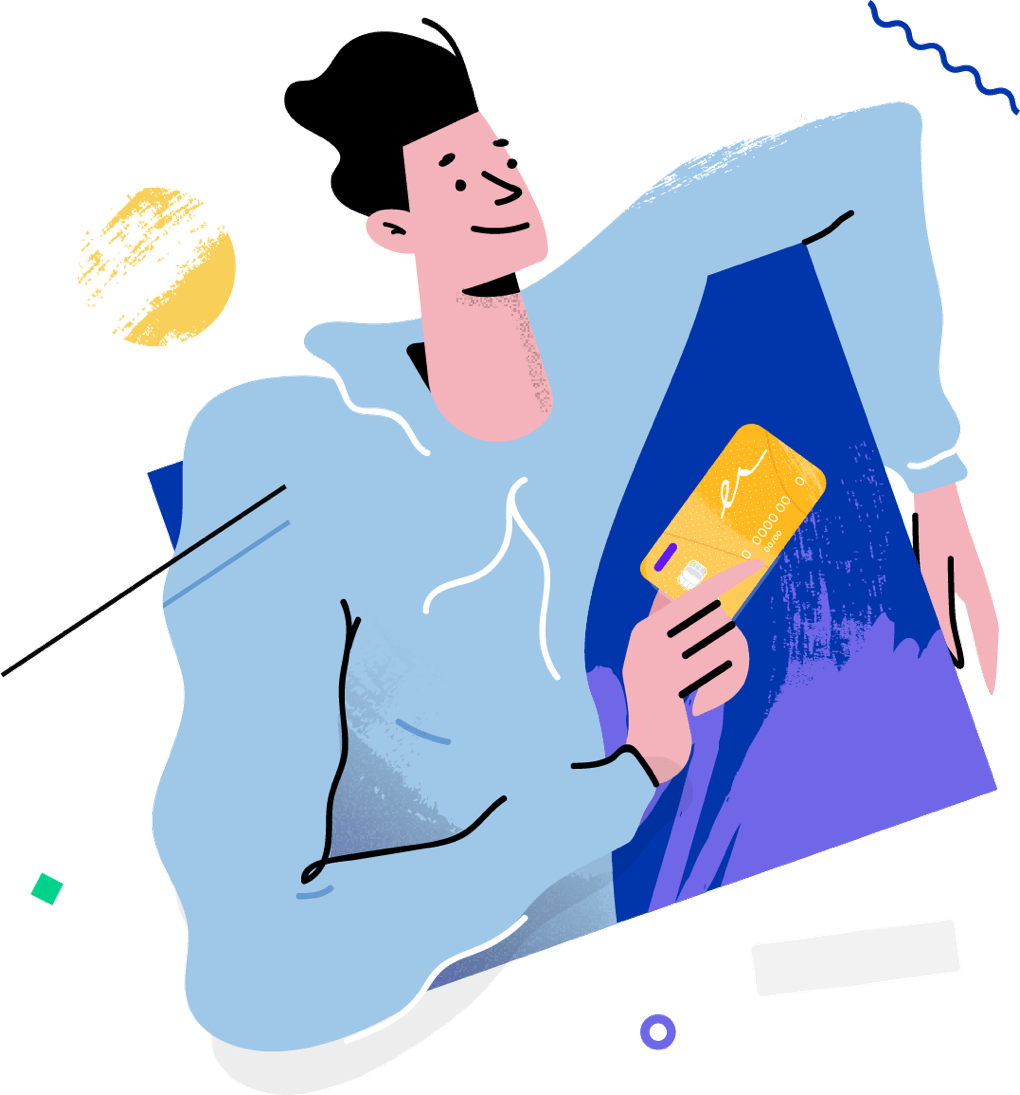 Person holding a card while smiling