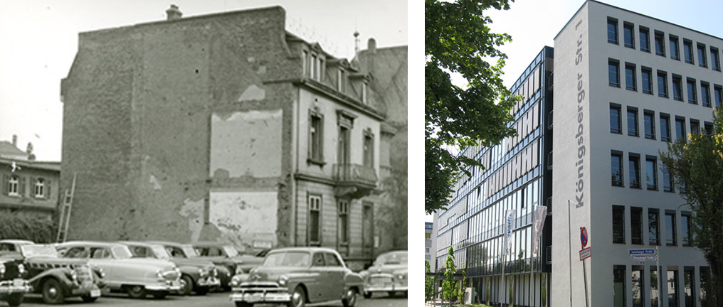 The USAA Frankfurt office, then and now. Image credits: USAA