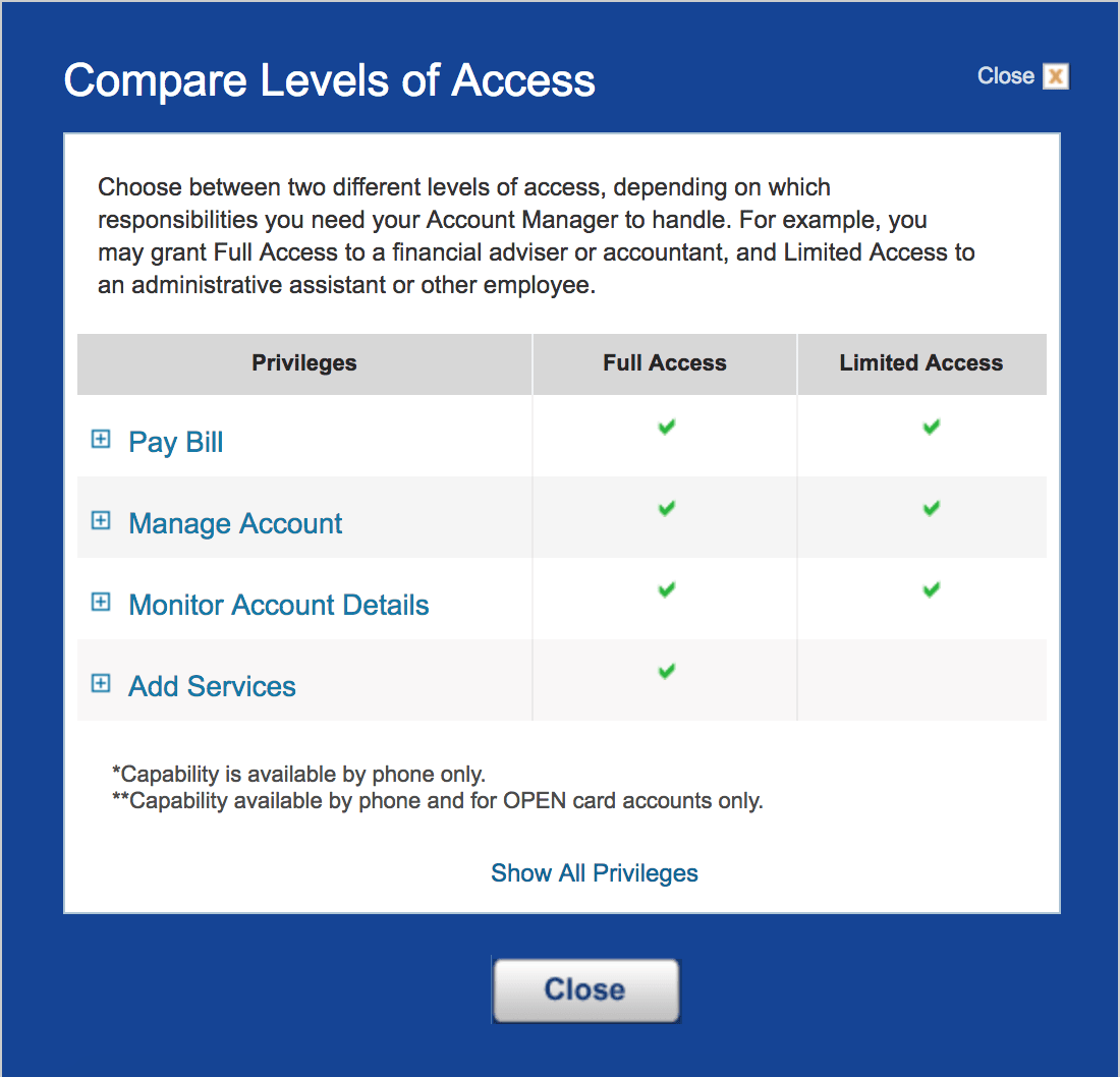 You can give Account Managers either full or limited access.