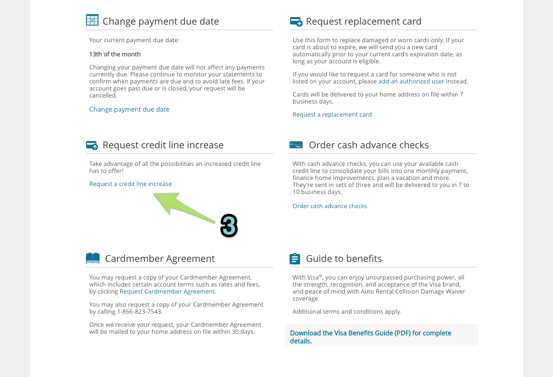 Requesting a credit line increase online with Barclays (2)