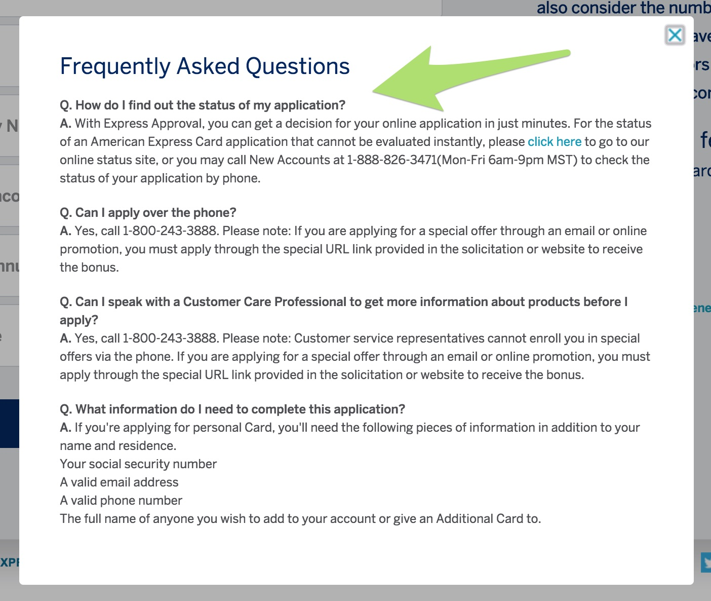 American Express FAQ on instant approval.