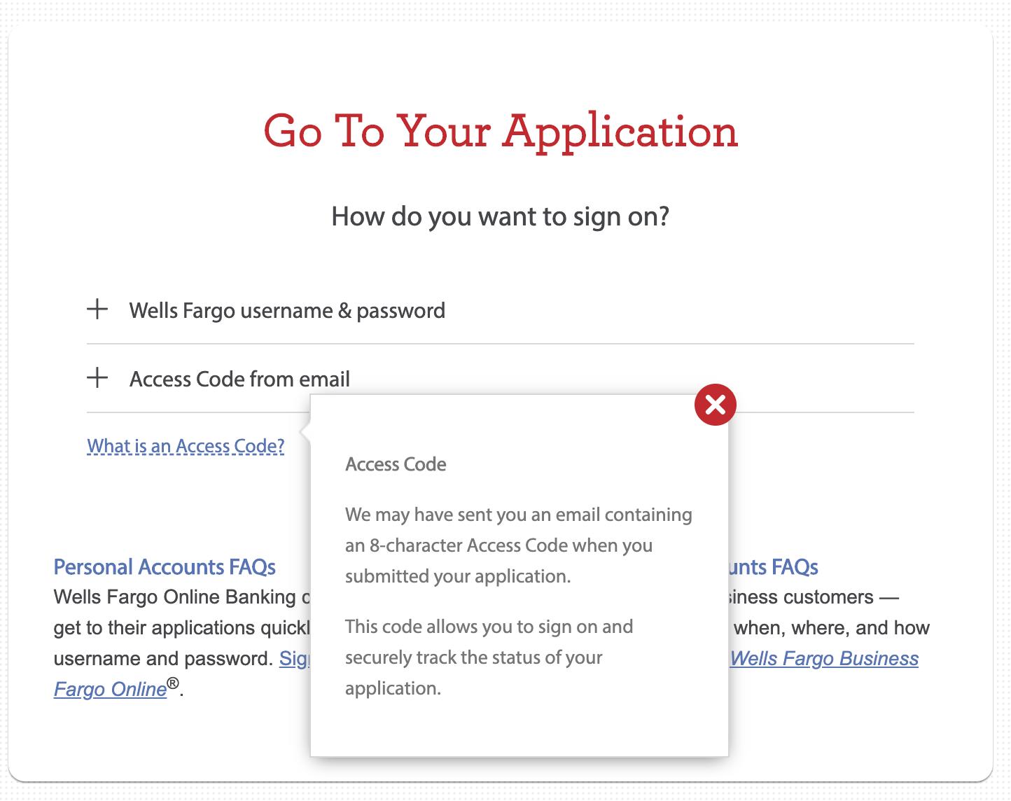 Wells Fargo - Online App Check