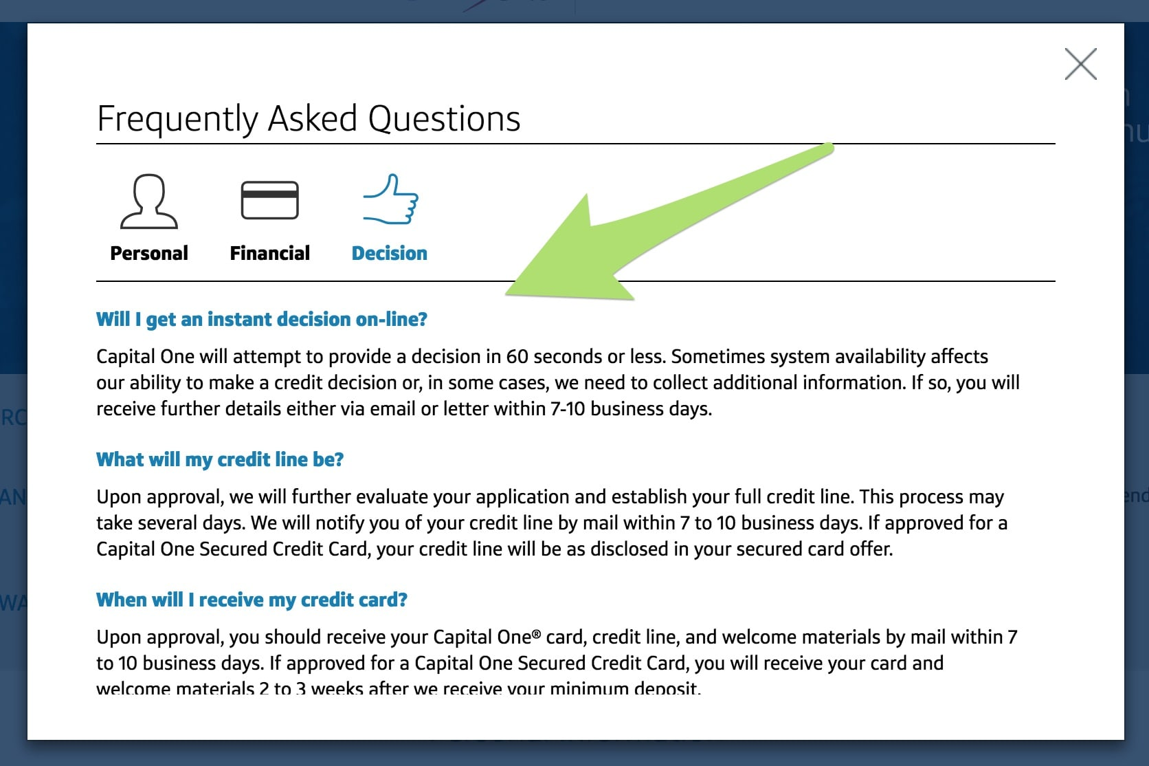 Capital One's FAQ on instant approval.