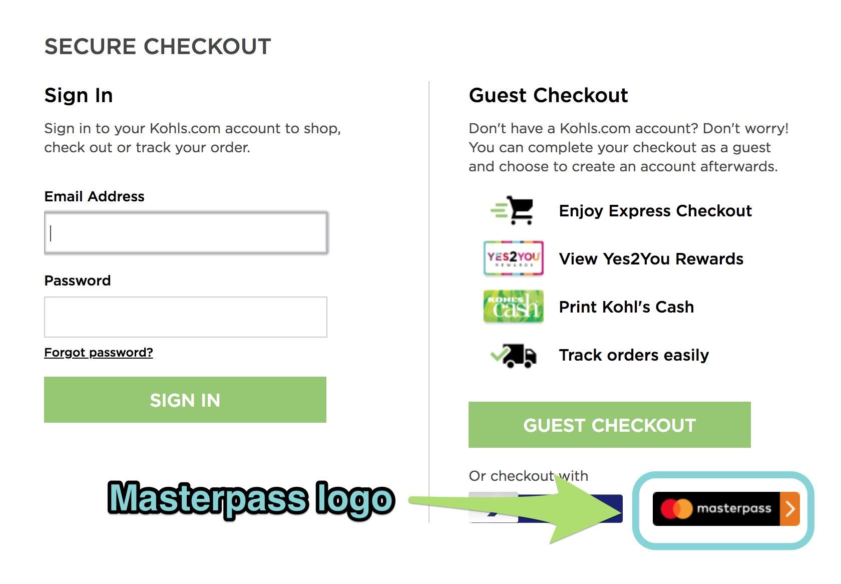 The Masterpass logo at checkout.