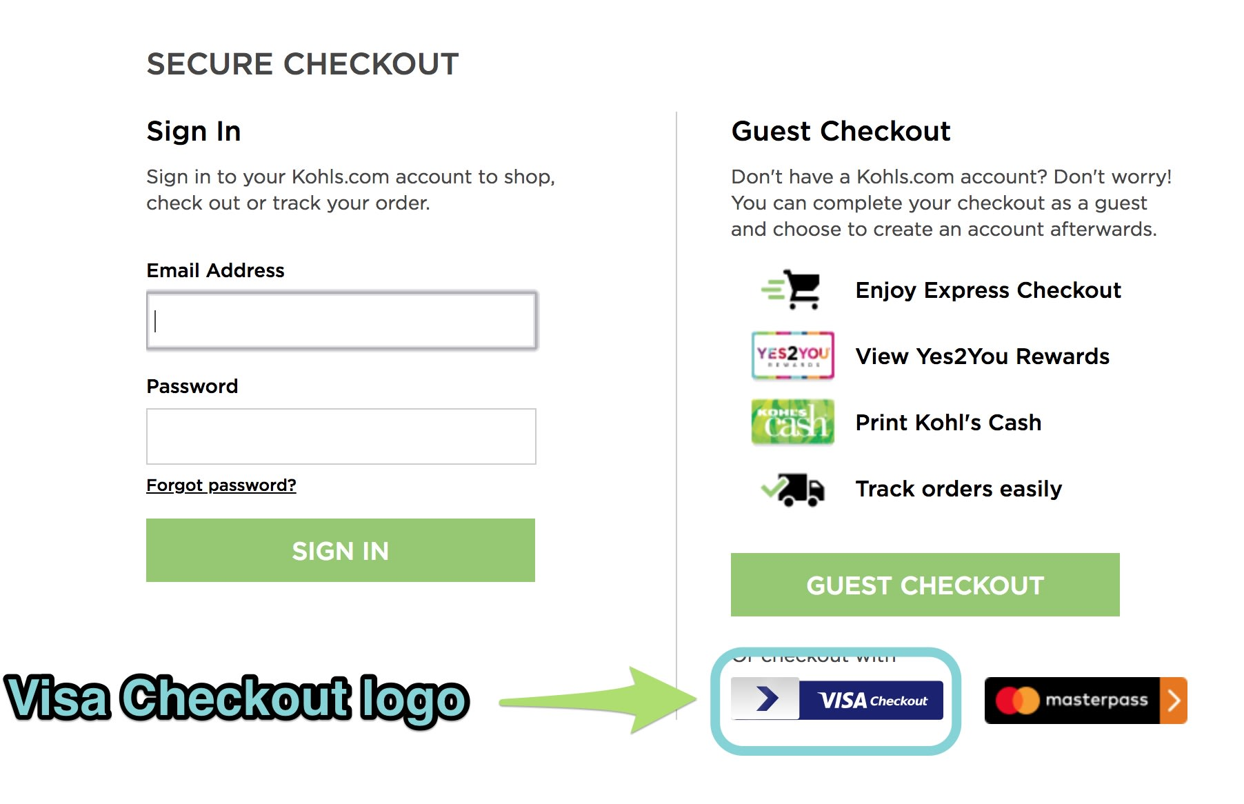 The Visa Checkout logo at checkout.