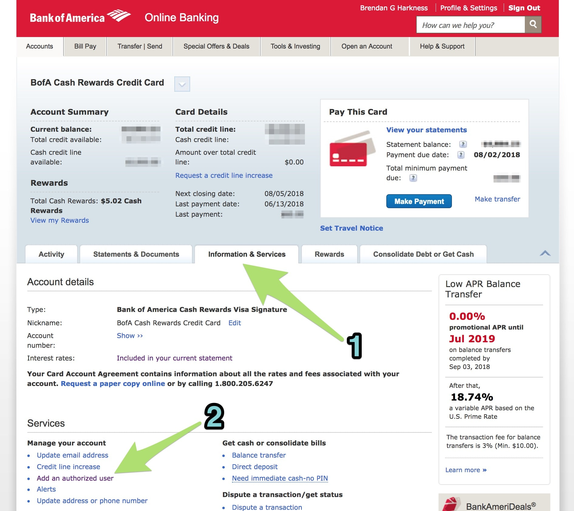 Adding an authorized user for a Bank of America card.