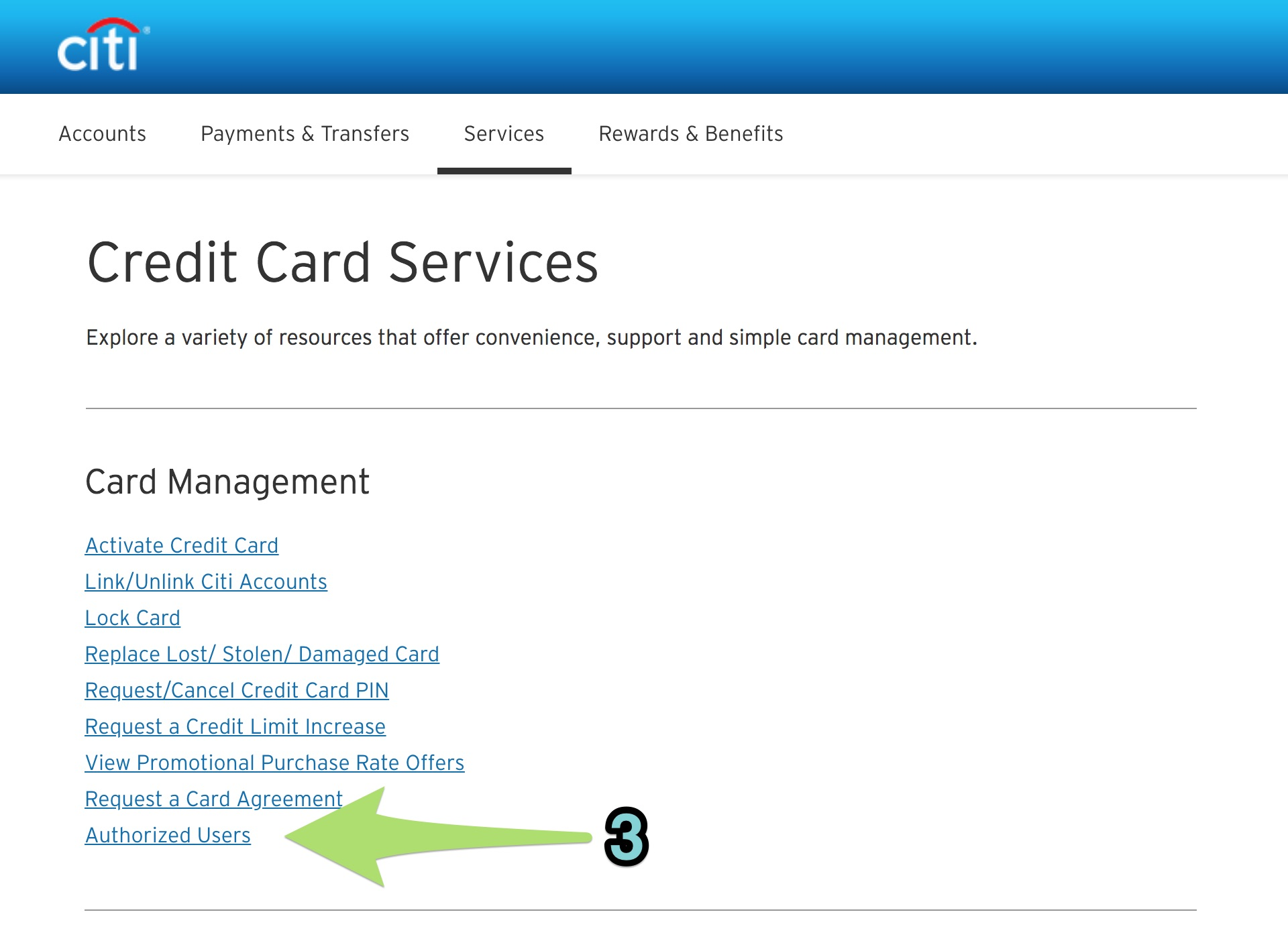 Adding an authorized user for a Citi card. (2)