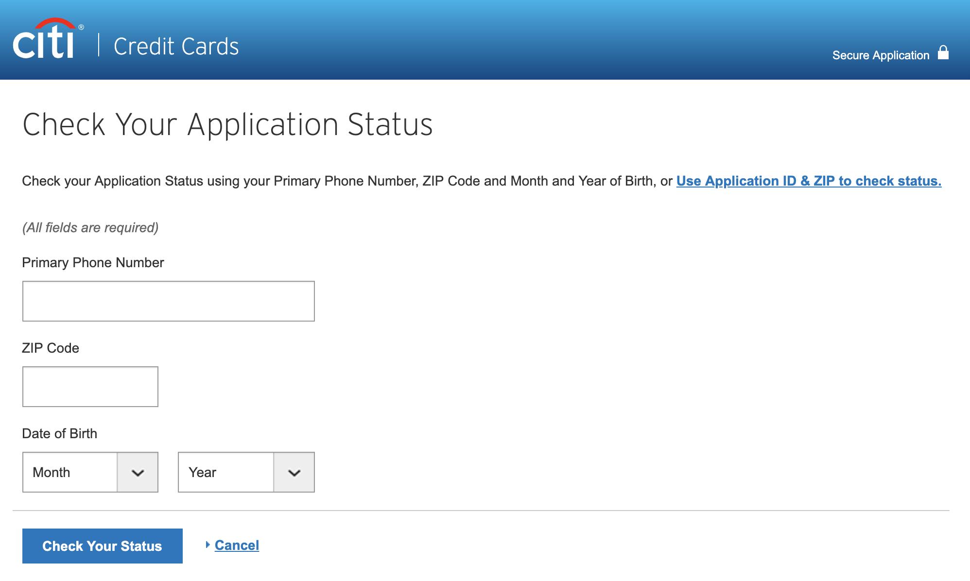 Citi - Online App Check
