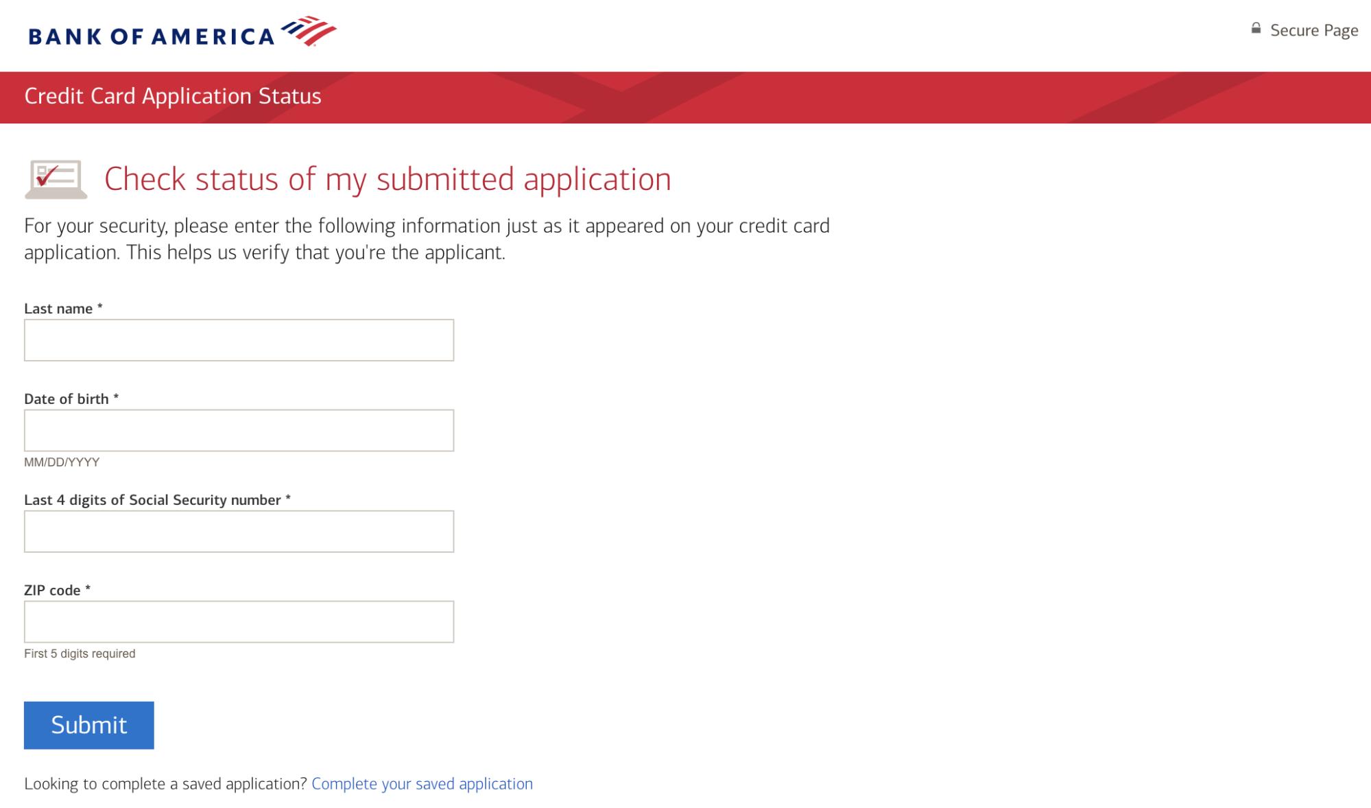 BofA - Online App Check