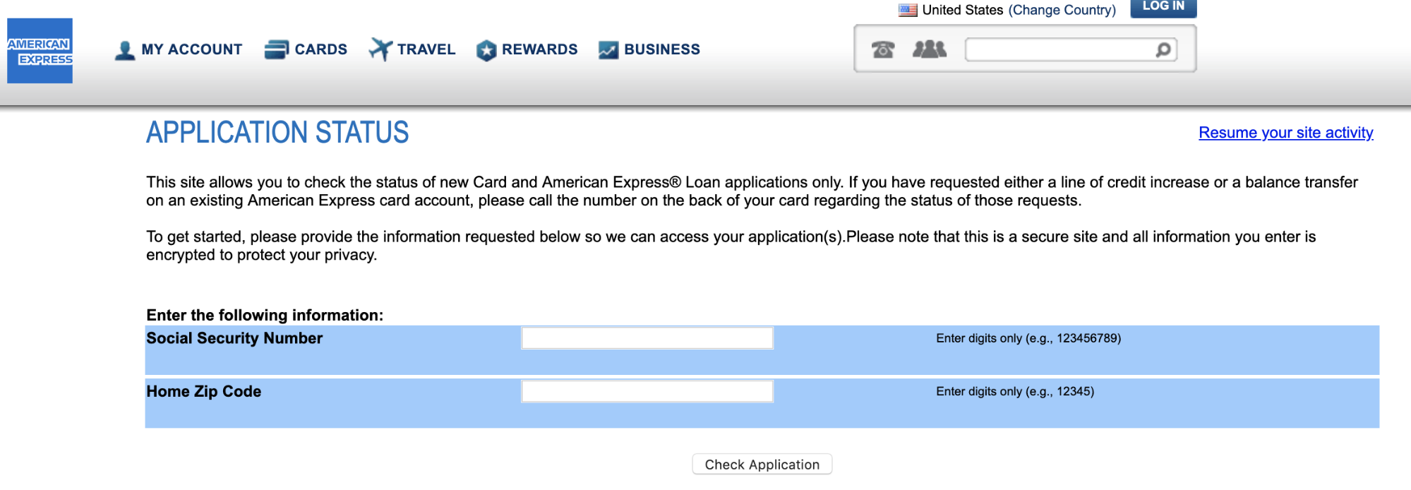 Amex - Online App Check