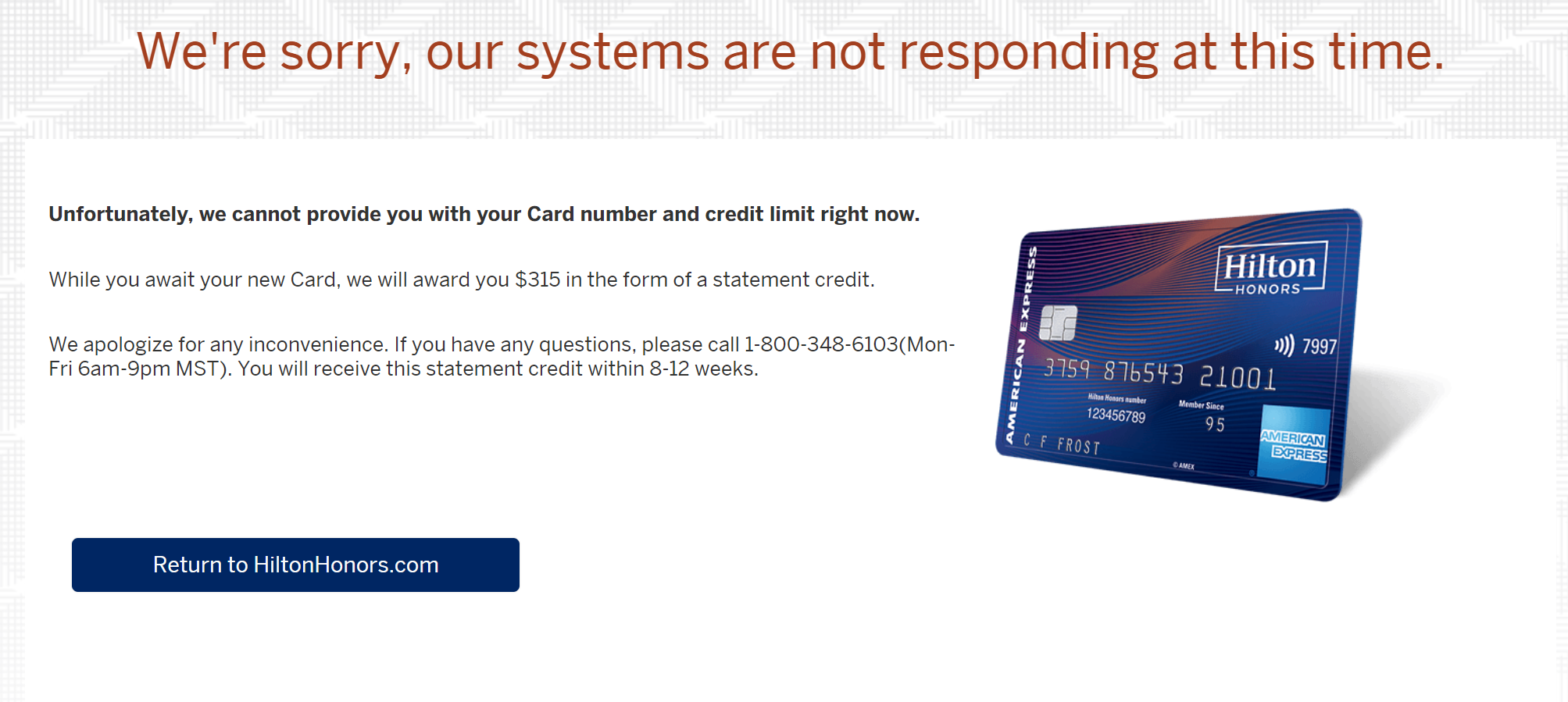 Getting a statement credit instead of an instant card number from American Express. Image credit: Imgur via reddit