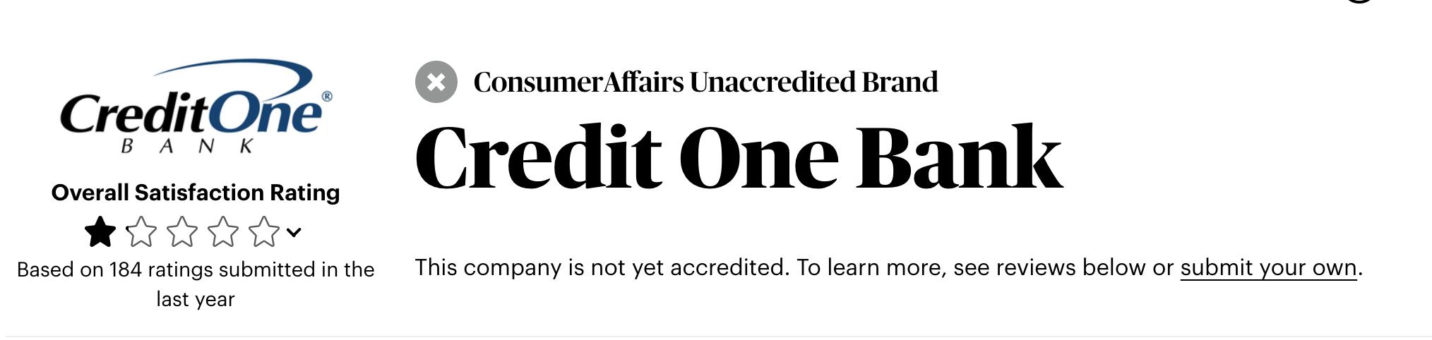 Credit One Bank customer service