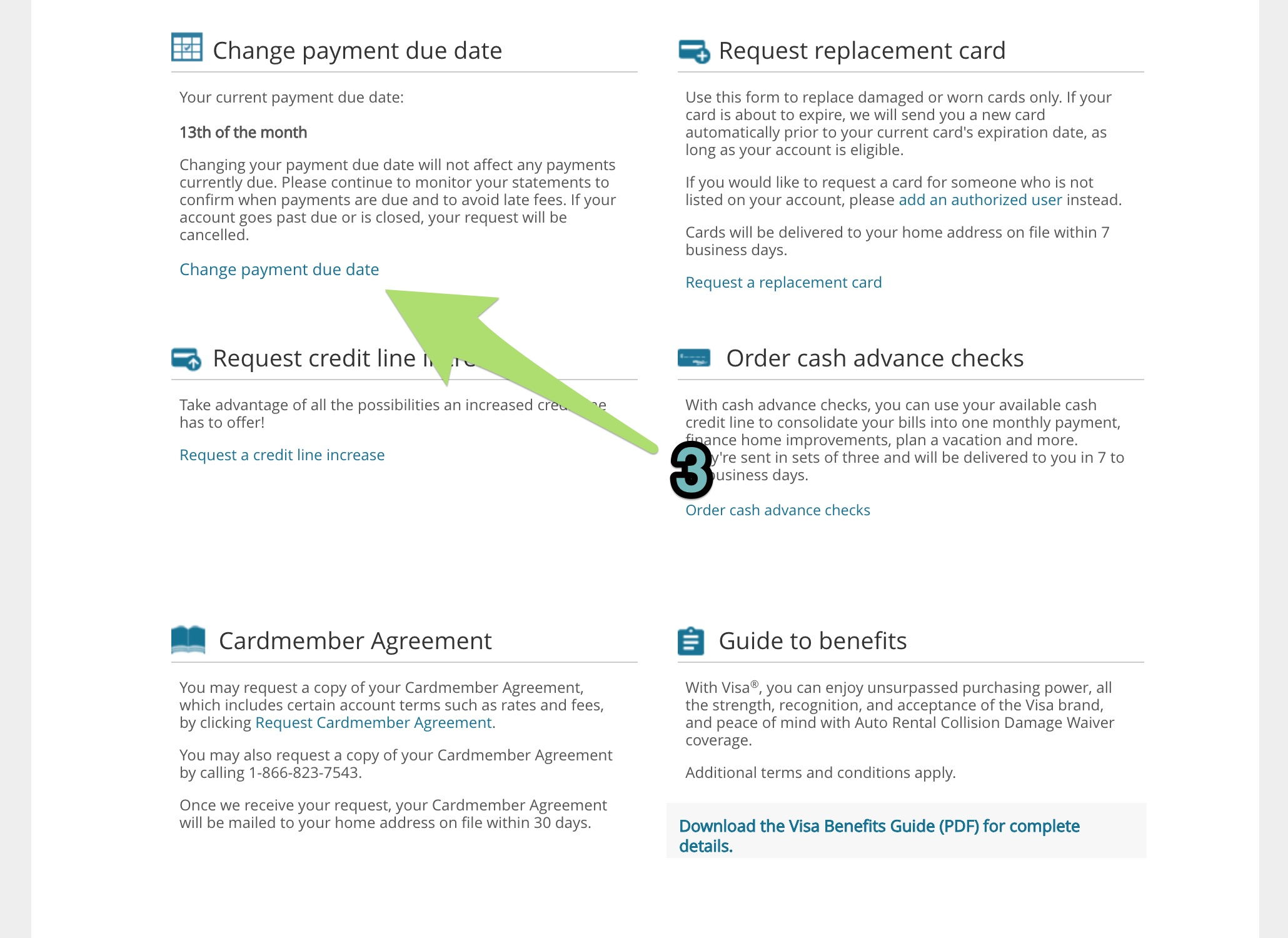 Changing the due date of Barclays credit cards: Step 2.