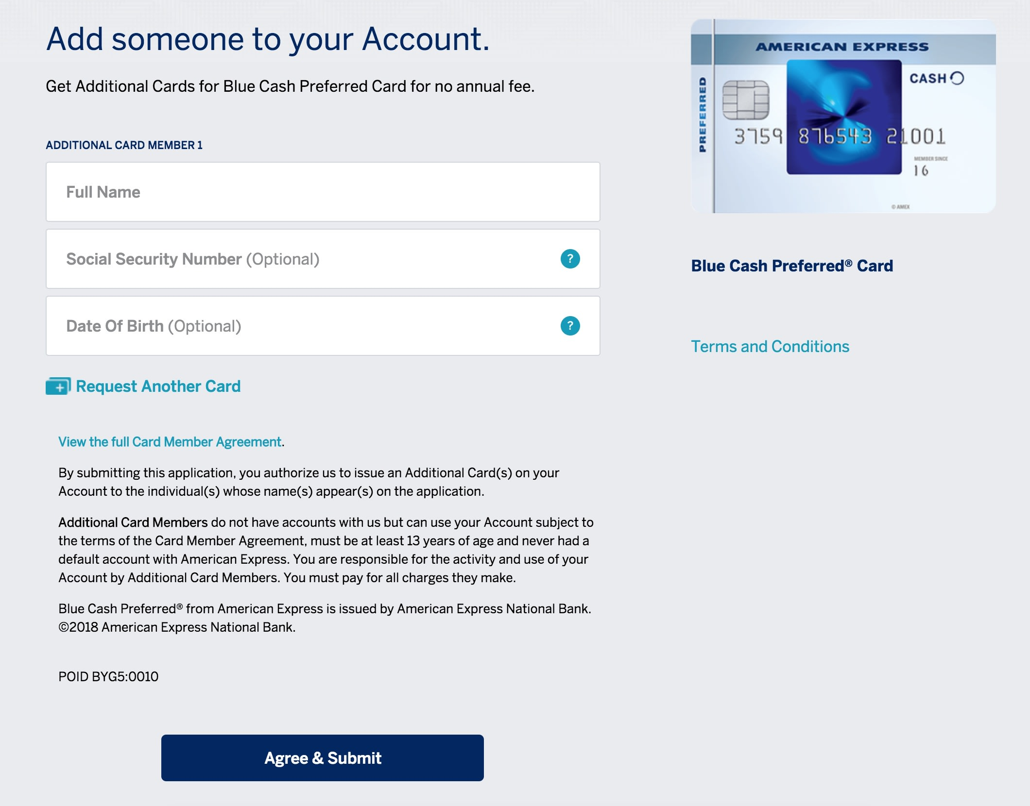 Adding an authorized user to an American Express card.