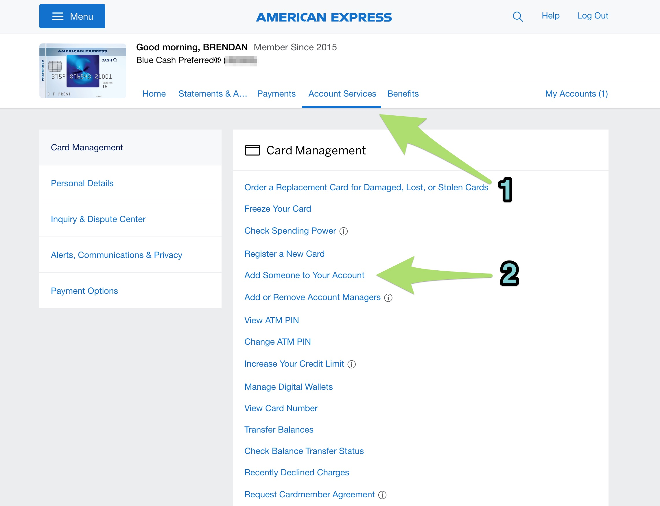 Adding an authorized user for an Amex card.