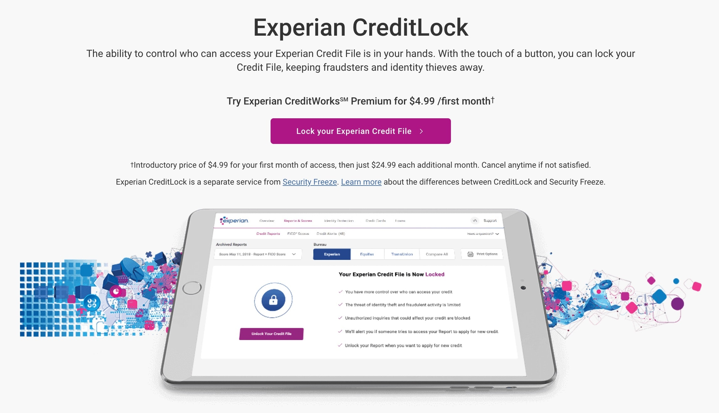 Setting a credit lock with Experian. Image credit: Experian