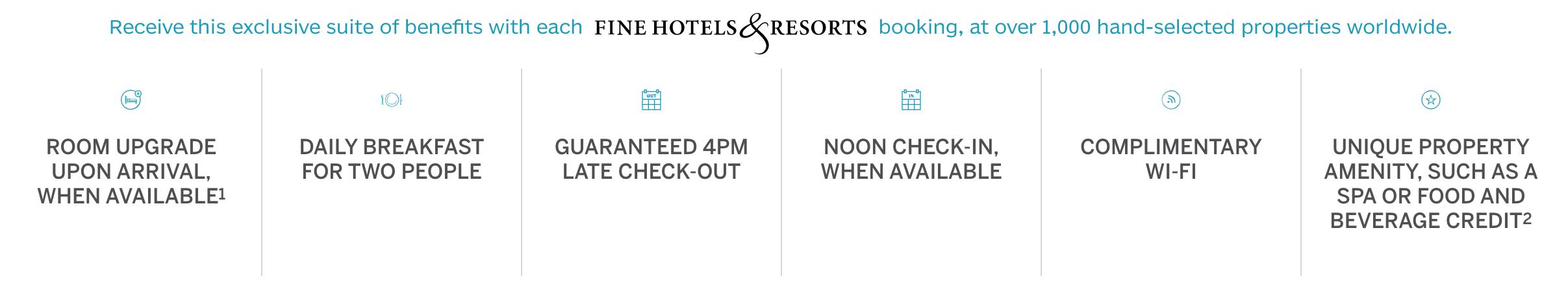 Amex Fine Hotels & Resorts benefits