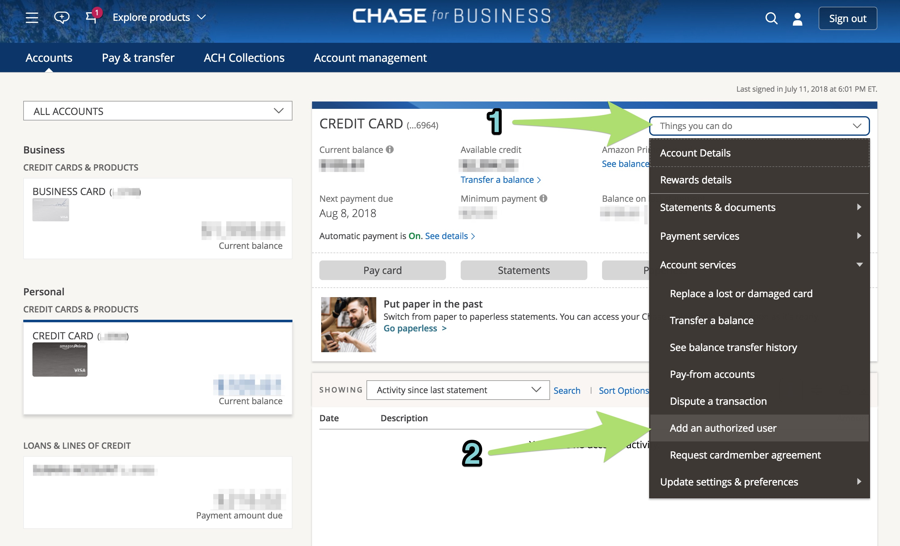 Adding an authorized user for a Chase card.