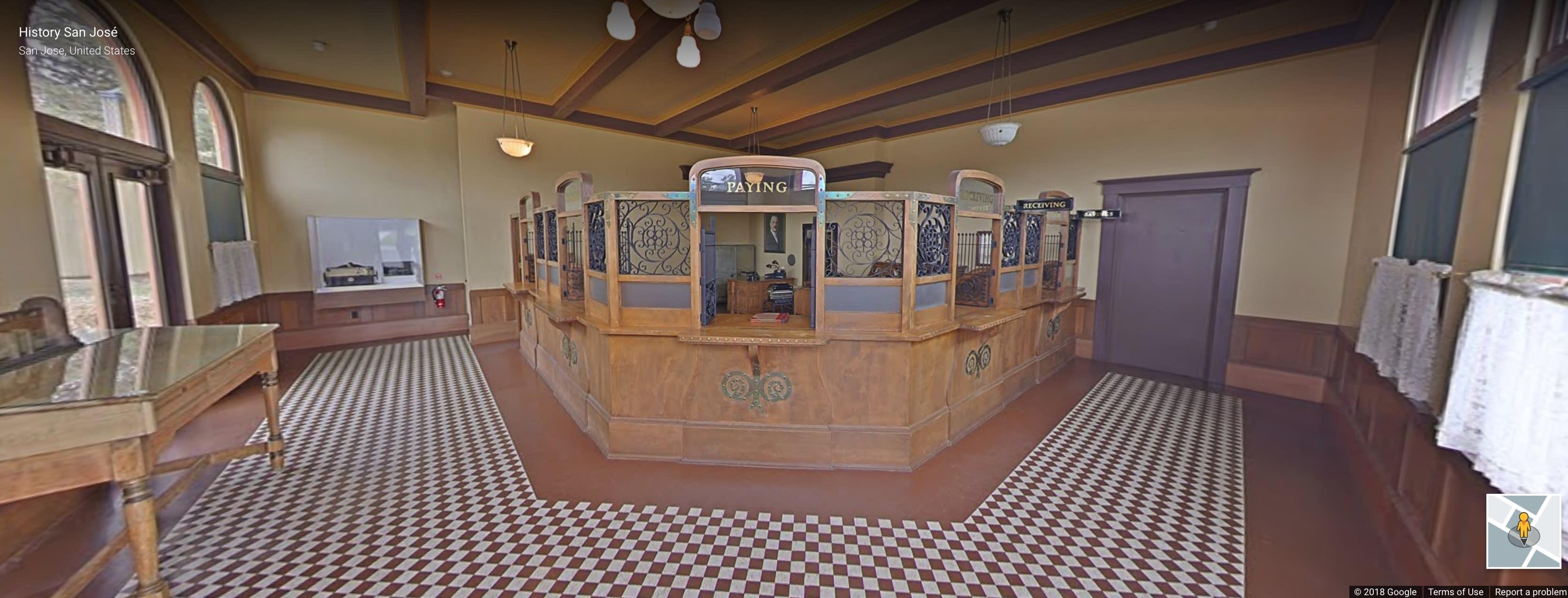 Inside a replica of an original Bank of Italy. Image credit: HistorySanJose