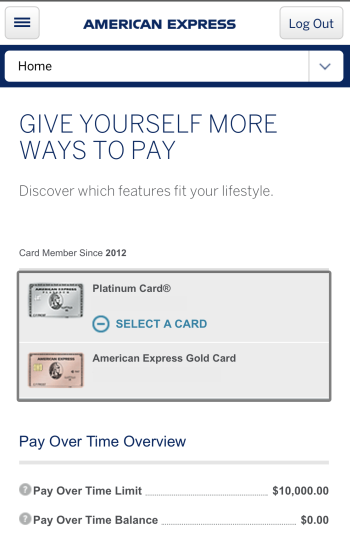 Picking an eligible Pay Over Time card