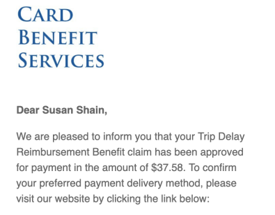Example of Chase's Trip Delay benefit