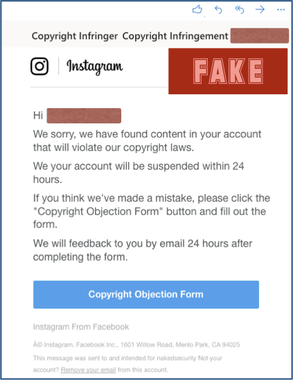 Screenshot of a fake Copyright Infringement message sent to Instagram users. Image credit: Naked Security