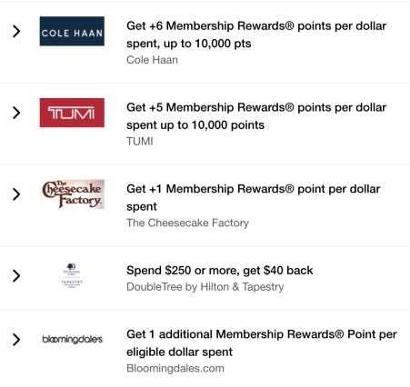Earning Membership Rewards with Amex Offers