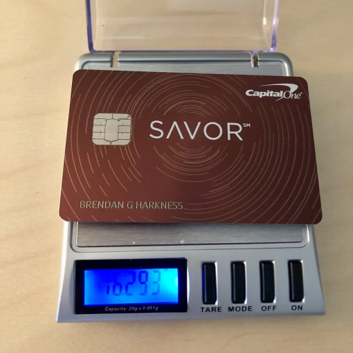 metal credit card on scale