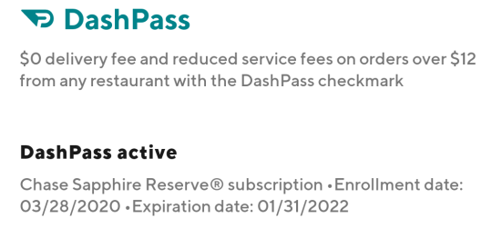 Chase Sapphire Reserve DoorDash