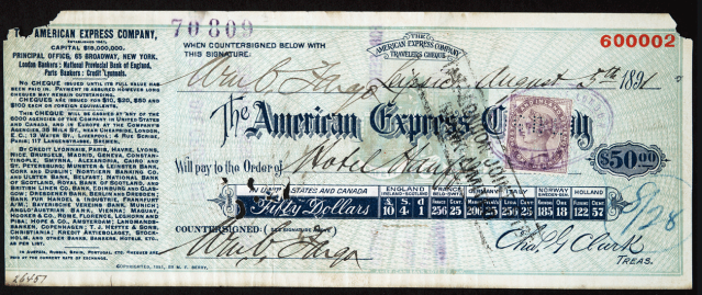 The American Express Traveler's Cheque. Image credit: American Express
