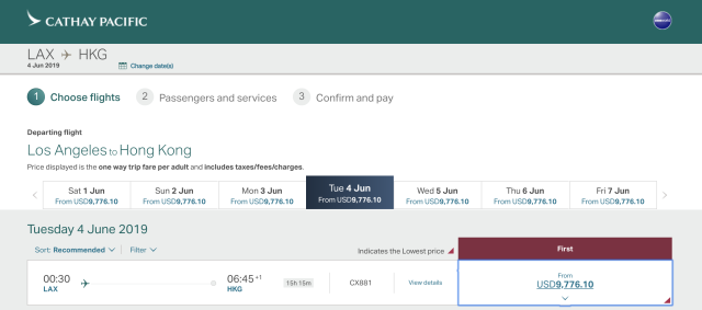 Cost of Cathay Pacific flight in cash