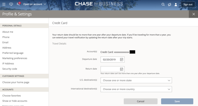 Chase travel notice