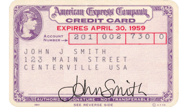 The first American Express personal charge card, introduced in 1958. Image credit: American Express