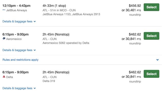 Booking Ultimate Rewards flight