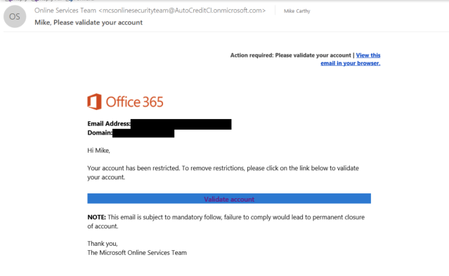 "Real-life phishing email in which a scammer impersonated a member of Microsoft's Online Security Team to encourage the recipient to click on a malicious link (""Validate account""). Image credit: Reddit"