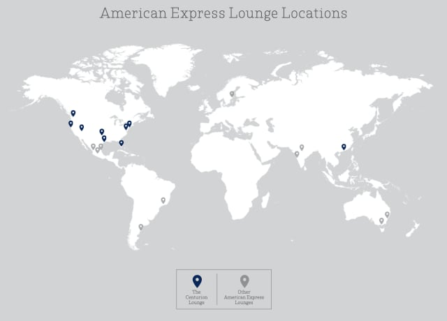 Locations of Centurion Lounges
